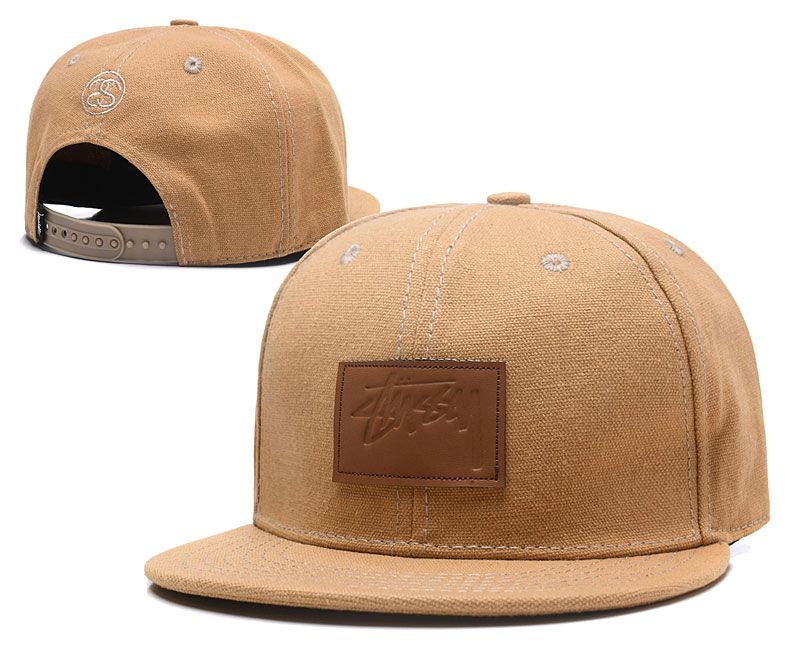 Men's Stussy Duck Canvas Brwon Leather Script Logo Squared Patch Snapback Hat - Sand