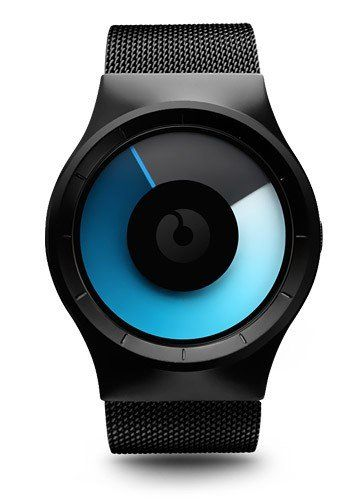 Ziiiro Mens Celeste Mono Stainless Watch Black Mesh Bracelet Blue Dial