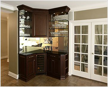 built in bar bar unit in cherry with black granite