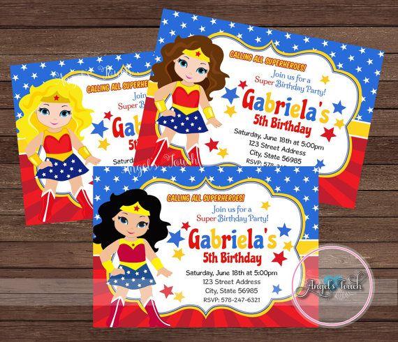 Wonder Woman Party Invitation Wonder Woman Invitation