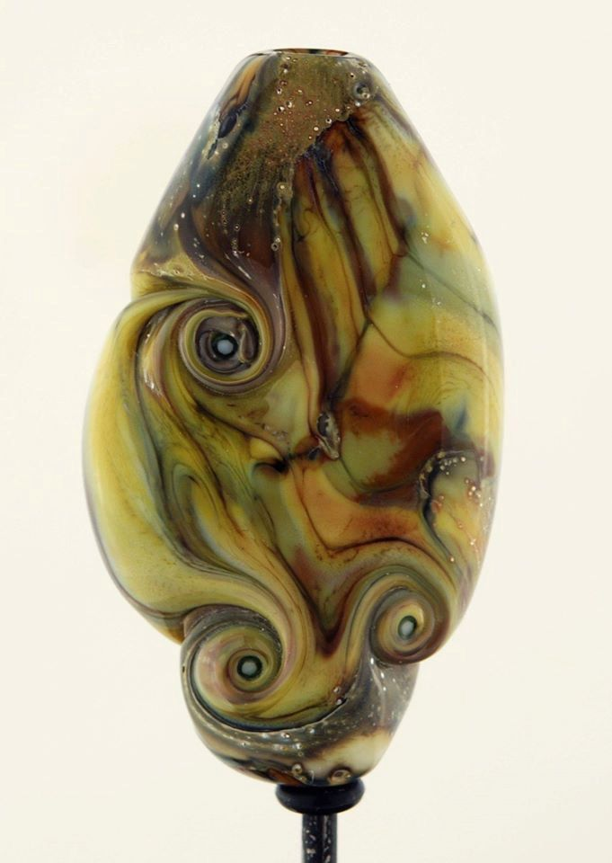 Yellow Handmade Lampwork Focal Bead - Desert Storm by Lutrick on Etsy
