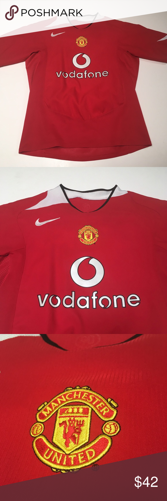 b7885e3e357 Manchester United Vodafone Nike 2004 Jersey Awesome jersey Tagless but  measurements can fit M L Trusted Nike quality Please check measurements for  fit ...
