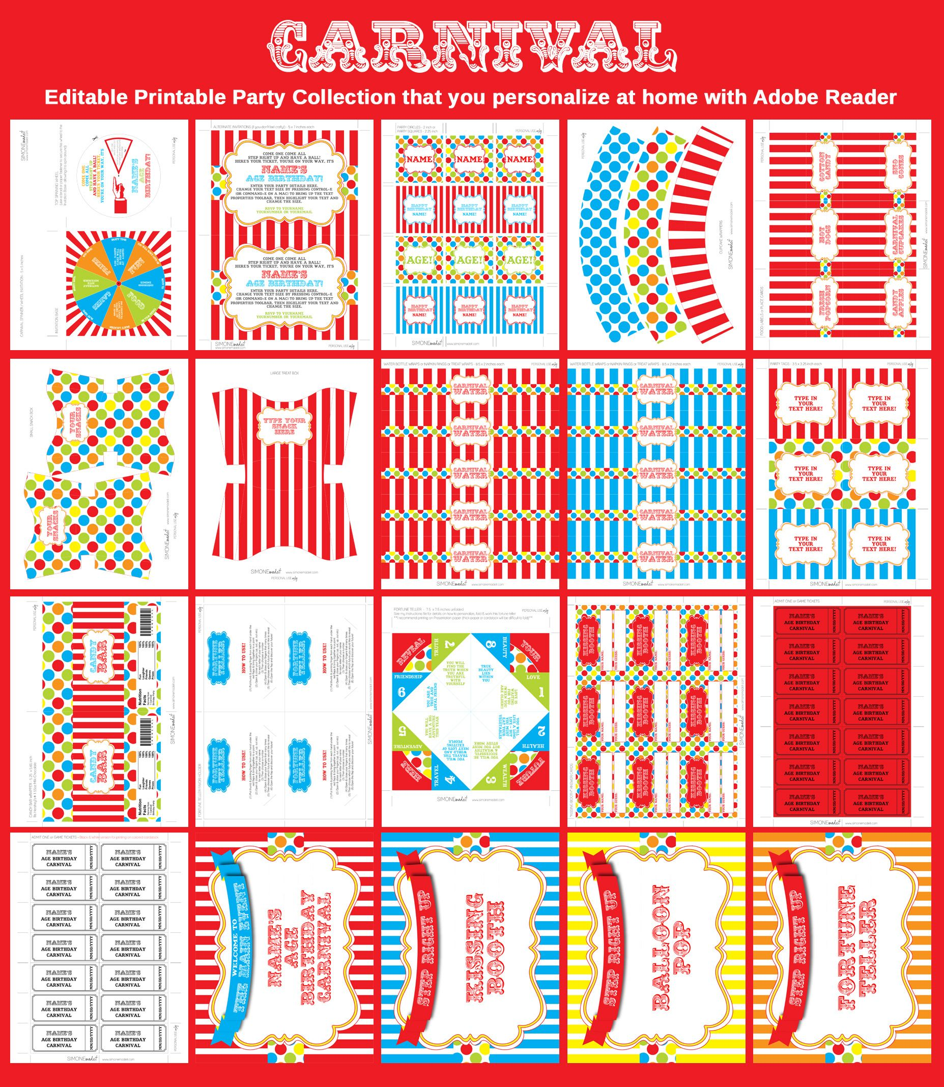 Carnival party printables invitations decorations for Circus printables