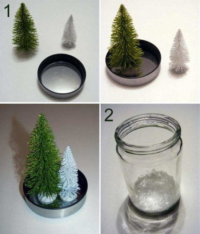 einweckglas schneekugel selber machen tannenbaum dekoidee weihnachten pinterest. Black Bedroom Furniture Sets. Home Design Ideas