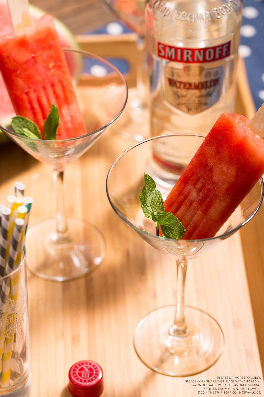 Beat The Heat With A Watermelon Mint Vodka Poptail 6 Oz Smirnoff Watermelon Flavored Vodka 2 Cups Watermelon Poptails Smirnoff Watermelon Summer Refreshments