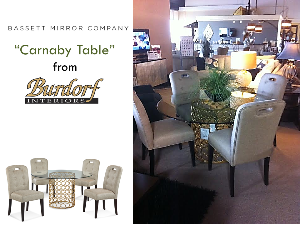 """The Bassett Mirror Company """"Carnaby Dining Table"""" features a metal base with interconnected rings with a Lux Gold and Gold Leaf finish. The 54"""" thick lay-on glass top is subtly tinted and edge polished."""