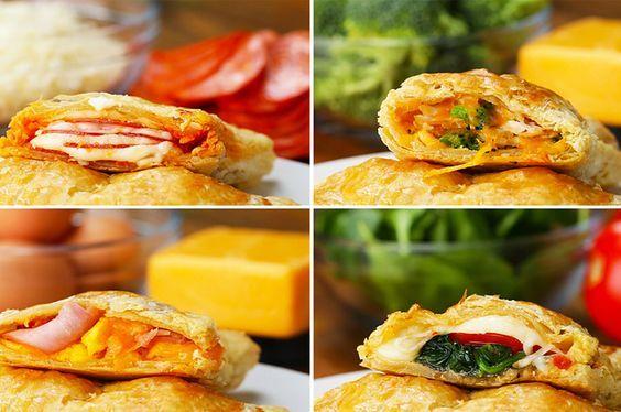 Puff Pockets 4 Ways pizza chicken broccoli alfredo spinach pesto tomato cheese pepperoni