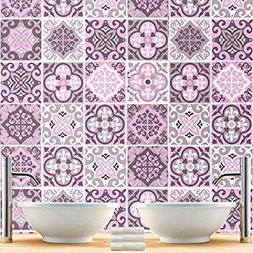 Sticker Carrelage Pour Salle De Bain Modèle Rose Pack Avec - Carrelage salle de bain rose