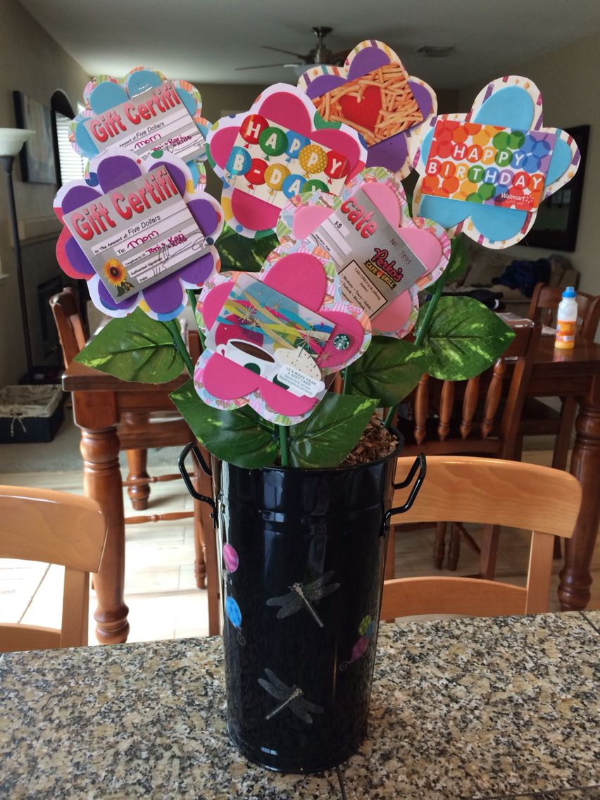 """birthday """"flower pot"""" with gift cards  birthday flowers"""
