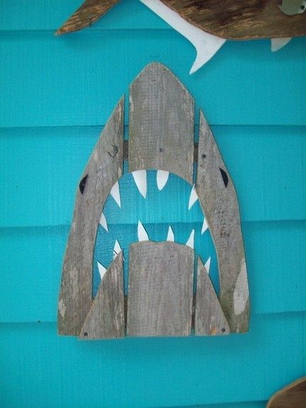 Shark made of recycled fence wood  JAWS, Great White, outdoor art