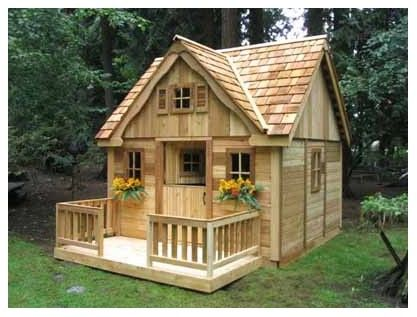 Adorable playhouse with shake roof, window flower boxes and roomy