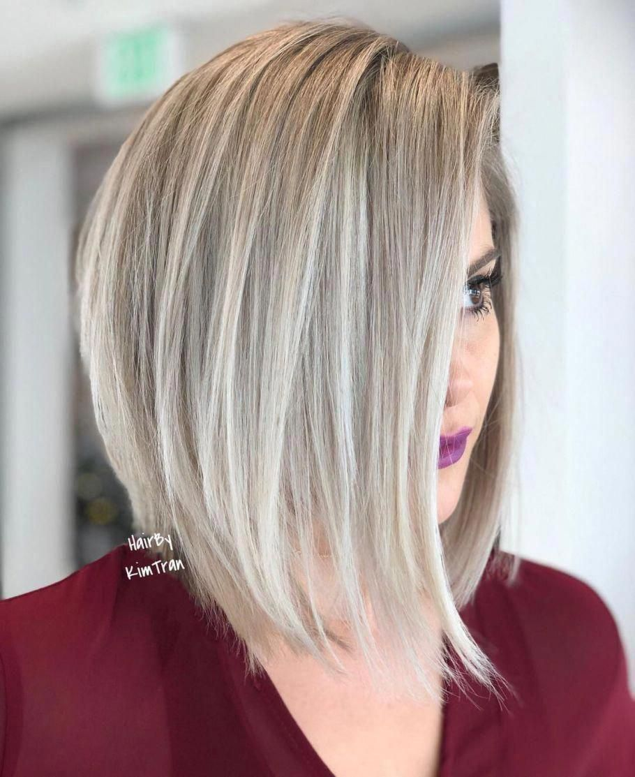 Ash Blonde Lob With Razored Ends Mediumbobhaircuts Bobhairstylesforfinehair In 2020 Thick Hair Styles Bob Hairstyles Inverted Bob Hairstyles
