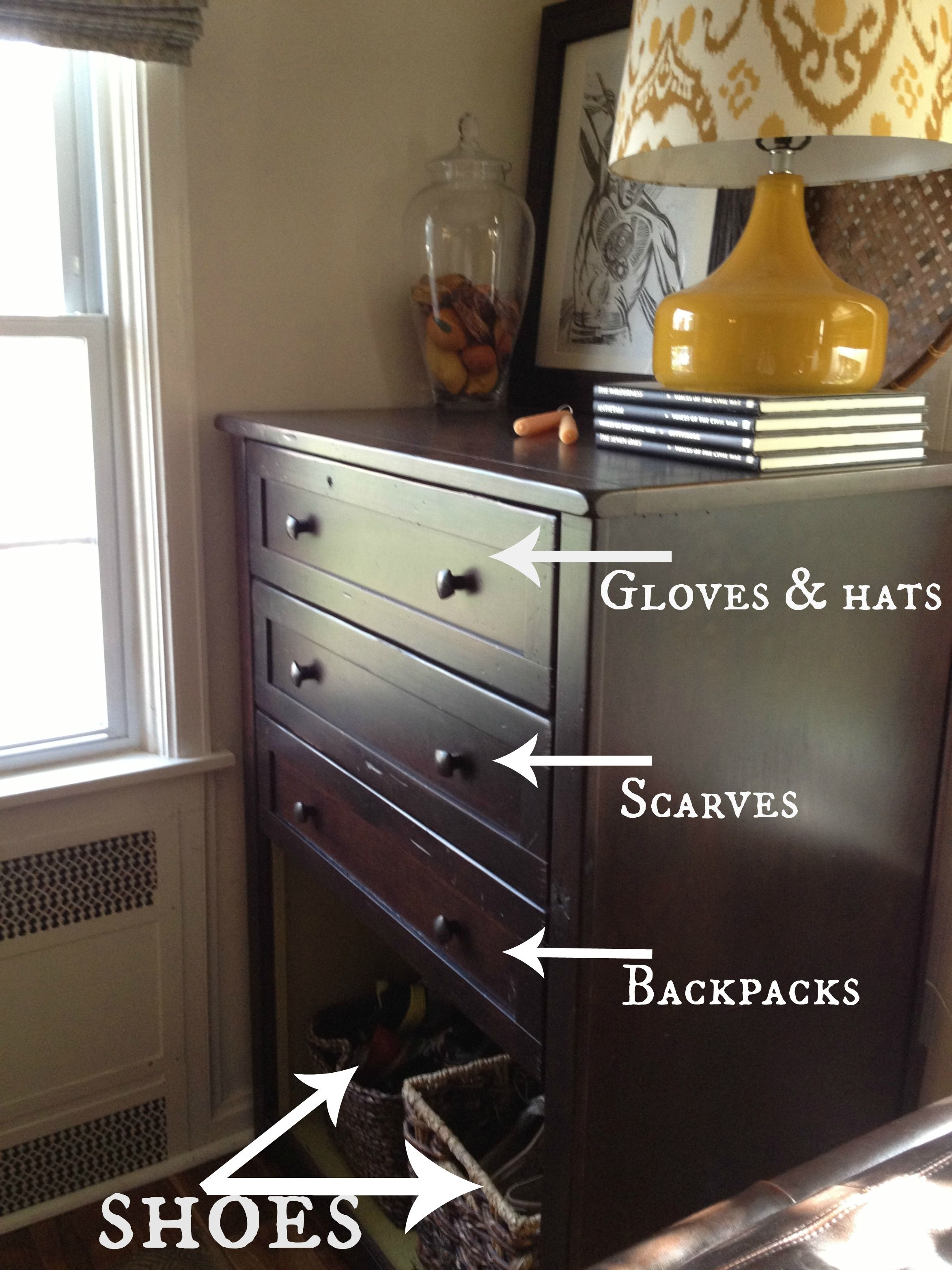 Repurposed Dresser New Entryway Organization Take out bottom