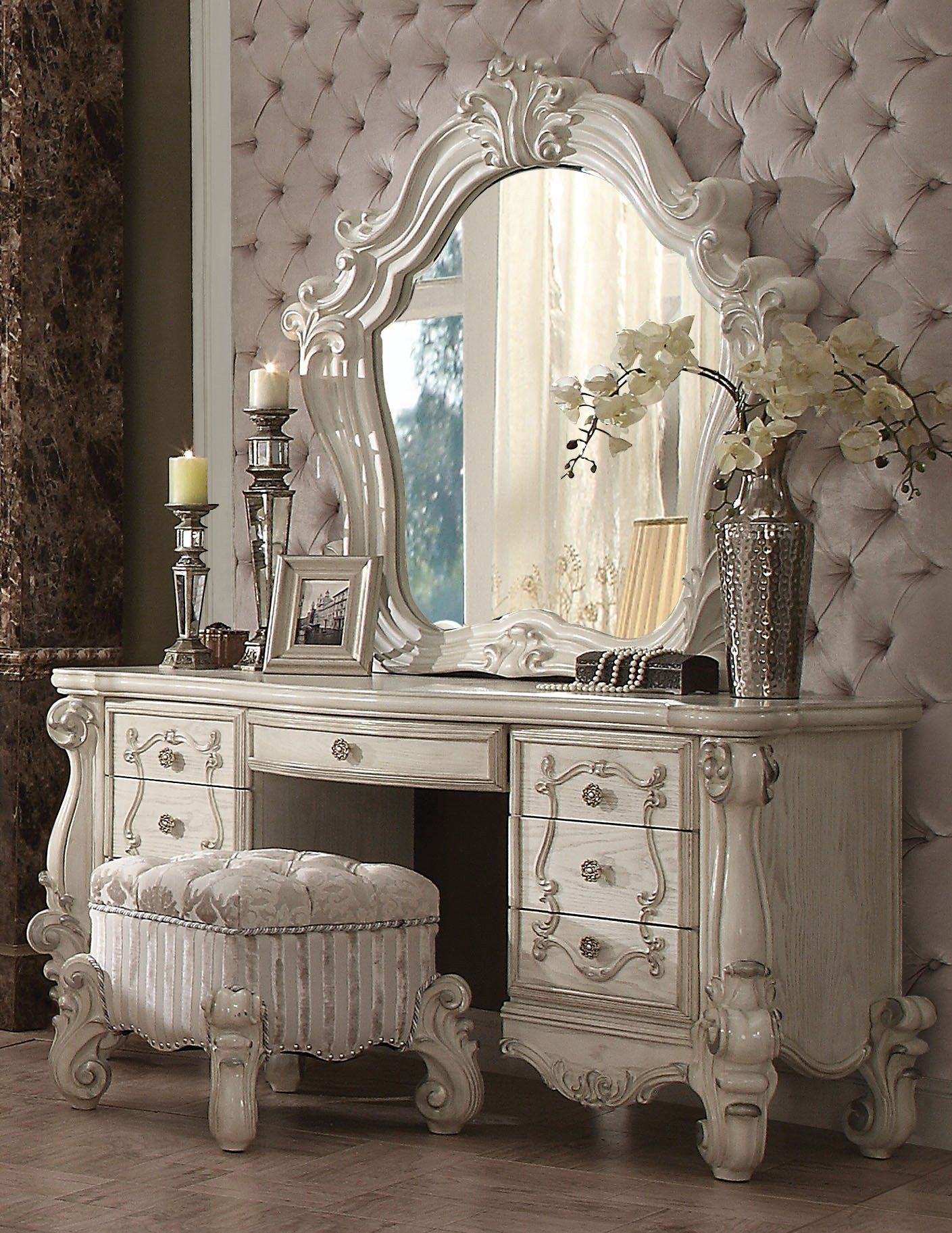 Acme versailles pcs bone white dresser vanity set stool
