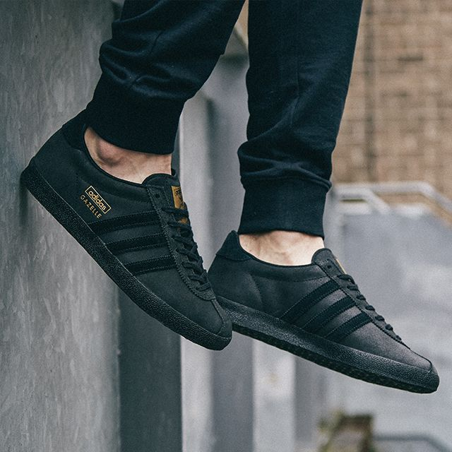 the best attitude 62de5 6b837 The triple black Gazelle in black leather is one of the best-selling adidas  Originals trainers at scotts Menswear