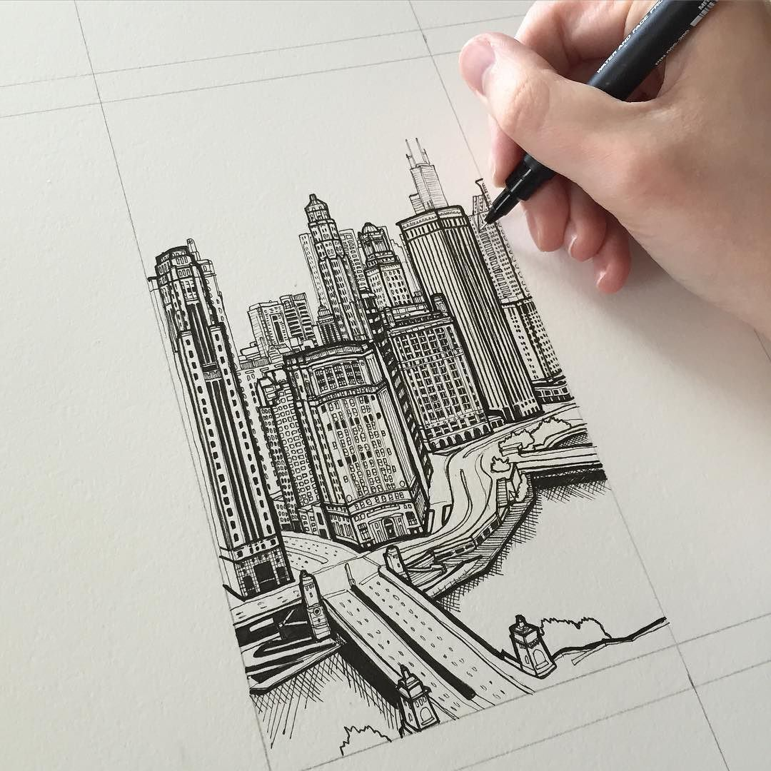 Chicago Art Drawing Pen Sketch Illustration City Cityscape