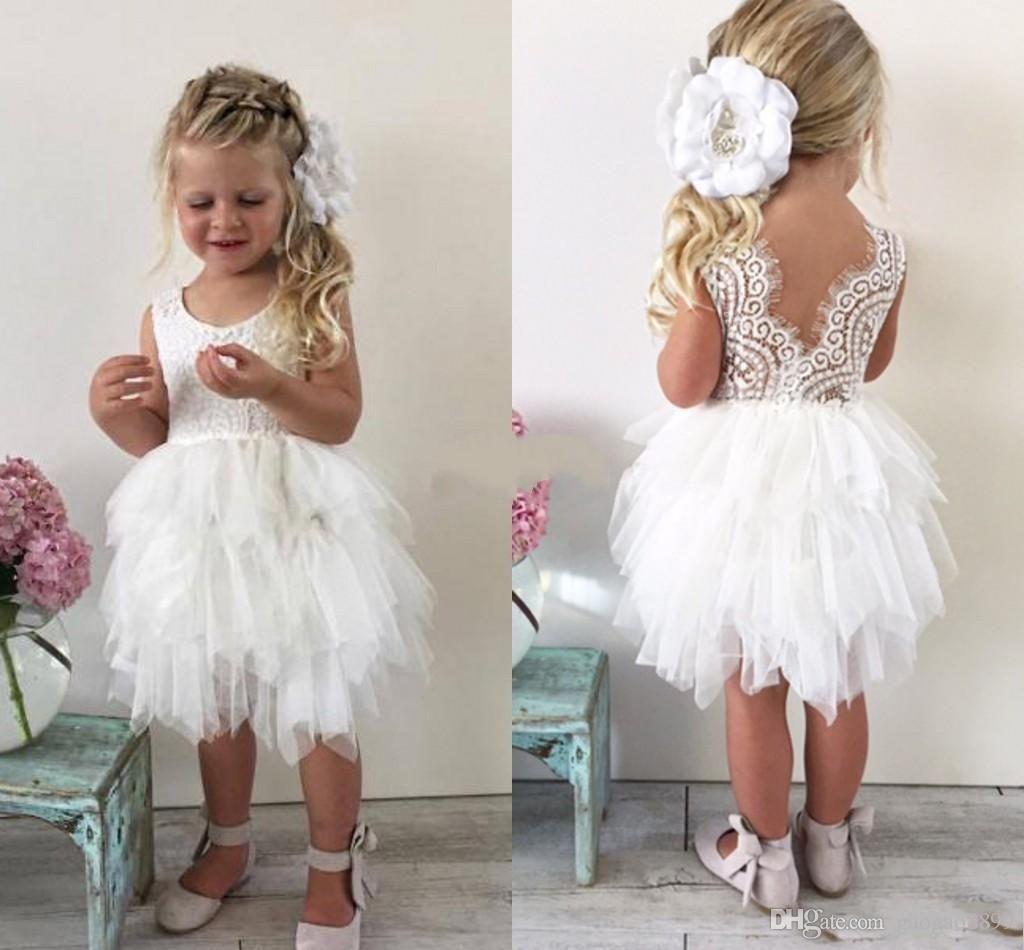 Cute Boho Wedding Flower Girl Dresses For Toddler Infant Baby