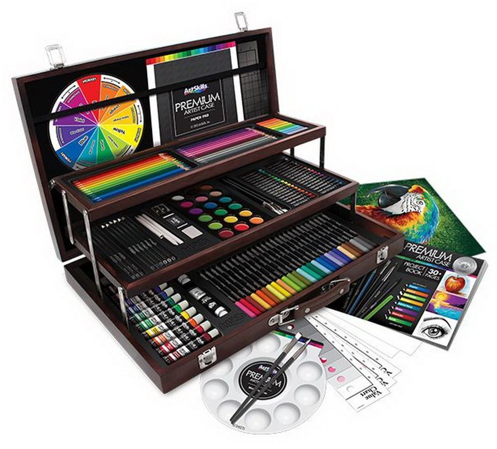 New 180 Piece Art Kit Artist's Supplies Set in Hinged Wood
