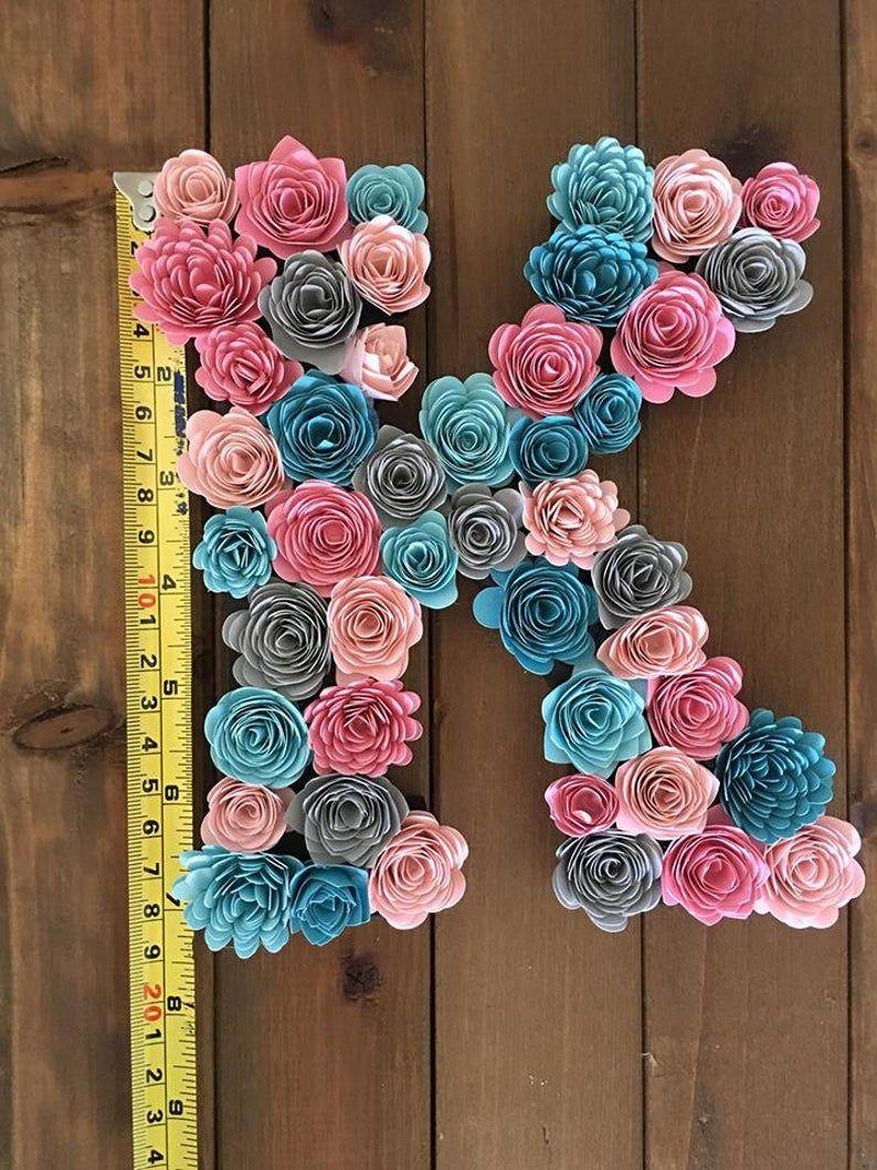 Paper Flower Letters, Nursery decor, Large Floral wood