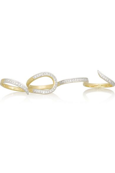 Ana Khouri Stem 18-karat gold diamond four-finger ring