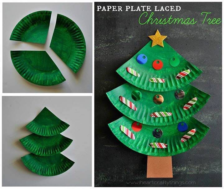 Paper plate - Christmas tree. We made this Paper Plate Christmas Tree to start out our holiday crafting and added a bit of learning skills into it with some lacing practice. I love how the ridge of the paper plate gives the tree some added texture. http://mobile.iheartcraftythings.com/d90tf79/articles/11456/Paper-Plate-Laced-Christmas-Tree-Craft