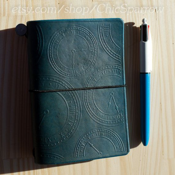 Prussian Blue Pocket Travelers Notebook with Clock and Gear Design on Etsy, $32.69