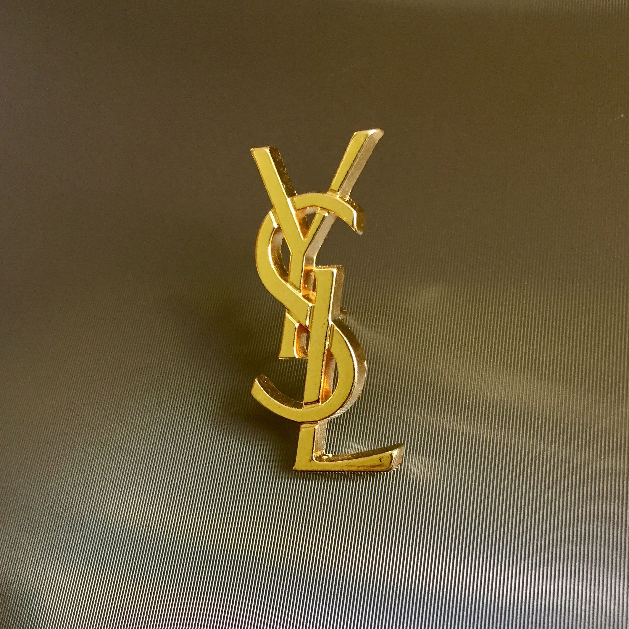d65e20312badd Stunning AUTHENTIC Vintage YSL - Yves Saint Laurent Gold Plated Pin Brooch  - French Vintage Monogram