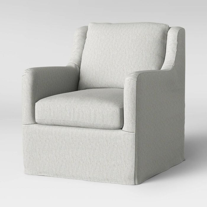 Boston Swivel Slip Cover Chair Cream Threshold