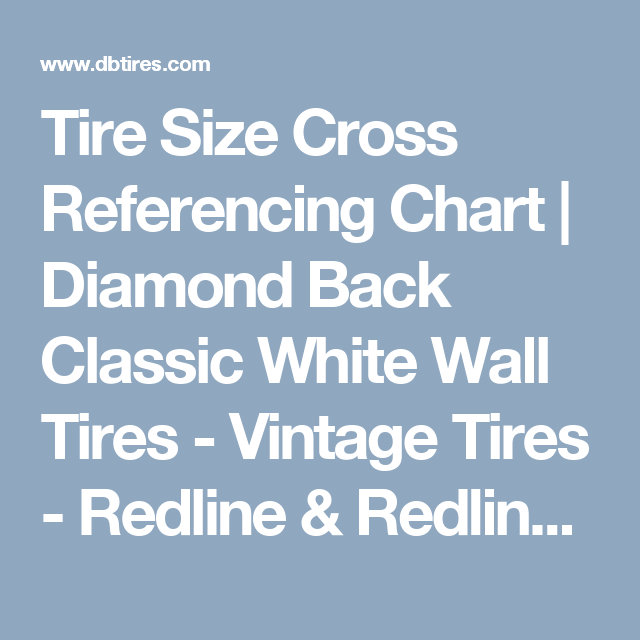 Tire Size Cross Referencing Chart
