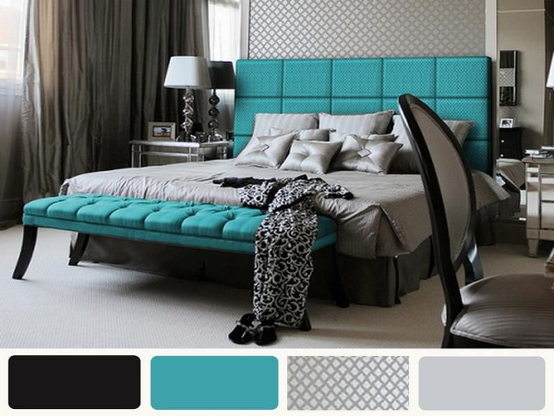 Grey Bedroom With Turquoise Headboard And Foot Bench