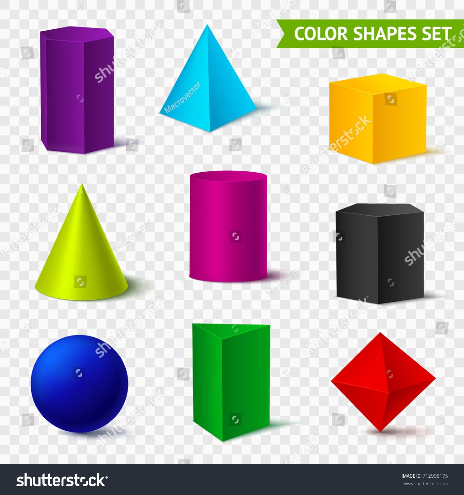 Realistic Geometric Shapes Transparent Color Set With Isolated