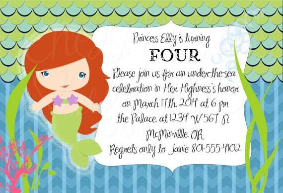 Little mermaid or ariel birthday party invitation party little mermaid or ariel birthday party invitation filmwisefo