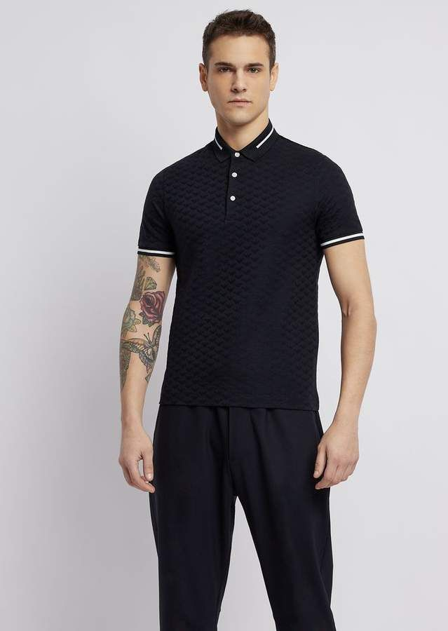 2be7f4b10e Emporio Armani Polo Shirt In Pure Cotton With All-Over Jacquard Logo ...