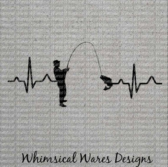 Heartbeat Fishing Fishing Heartbeat Svg Digital Download