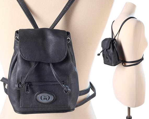 76142c406f7a 90s Black Mini Backpack Vintage Rucksack Women Urban Backpack Small Black Vegan  Faux Leather Hipster