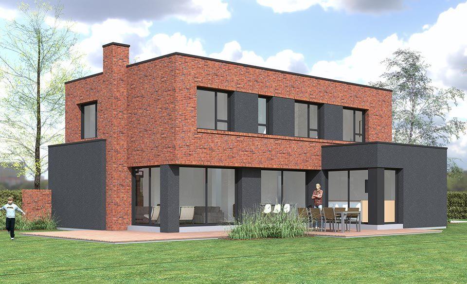 Supérieure Maison Cubique Ou Toit Plat Dans Le Nord