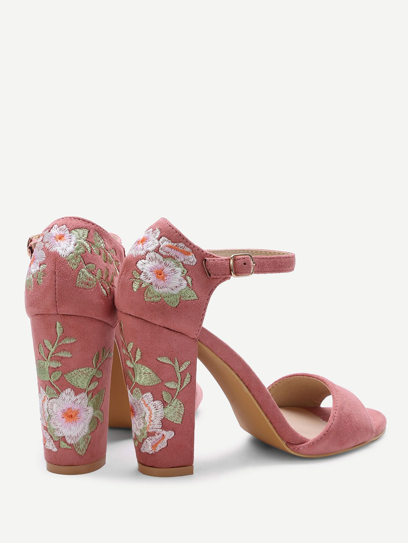 5a77232fb6dd Shop Pink Flower Embroidery Chunky Heel Sandals online. SheIn offers Pink  Flower Embroidery Chunky Heel Sandals   more to fit your fashionable needs.