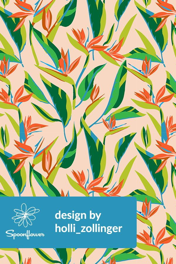 Colorful fabrics digitally printed by Spoonflower - ANTHOLOGY_OF_PATTERN_ELLE_BIRD_OF_PARADISE_LIGHT
