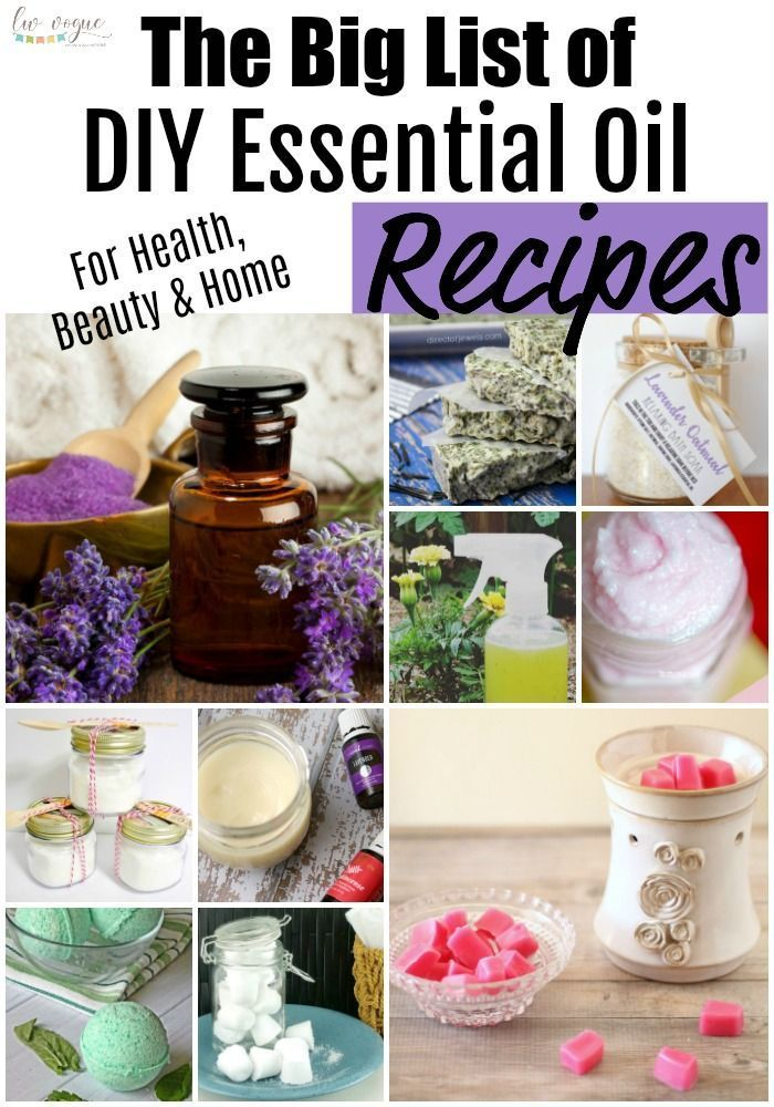 The Big List of DIY Essential Oil Recipes is part of Diy essential oil recipes, Essential oils gifts, Essential oil recipes, Diy essential oils, Essential oil beauty, Oil recipes - From natural cleaners to beauty treatments, this collection of DIY essential oil recipes will show you how to easily create homemade, allnatural products for every part of your life!