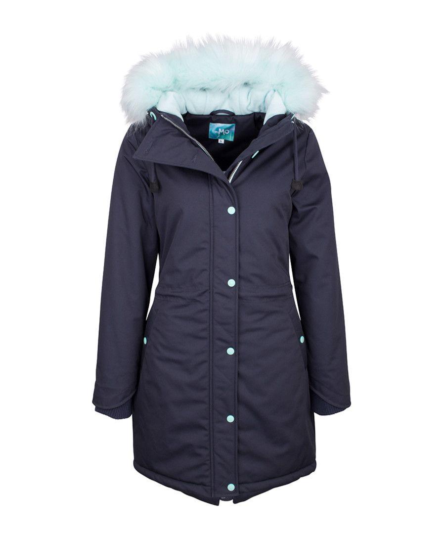 b82d5999 Navy contrast faux fur hood coat Sale - myMo | Winter clothing ...