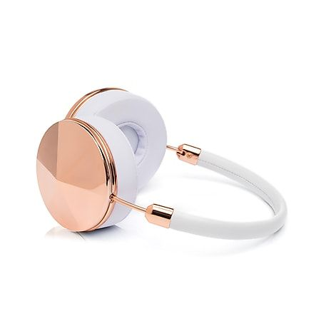'Taylor' Rose Gold Headphones, Rose Gold & White Leather Detail
