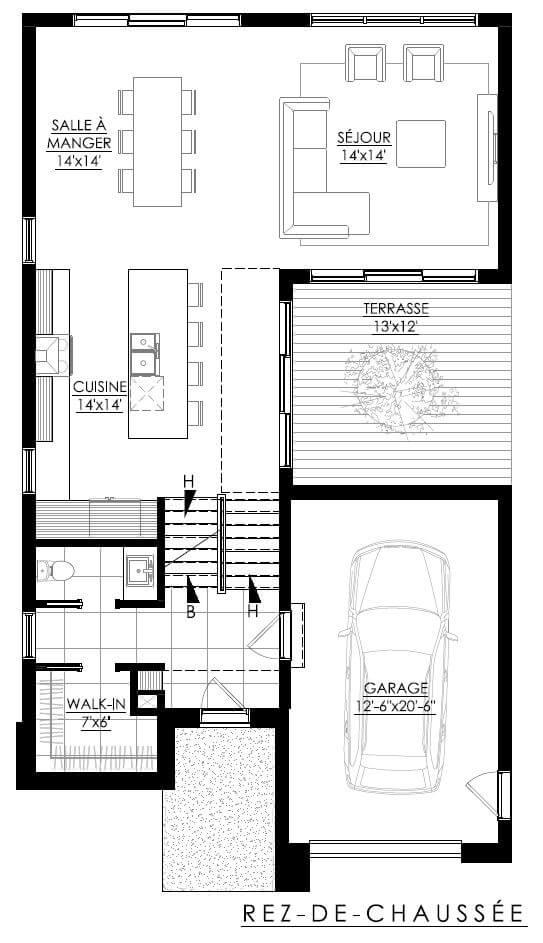 Plan de maison Ë_134   Leguë Architecture