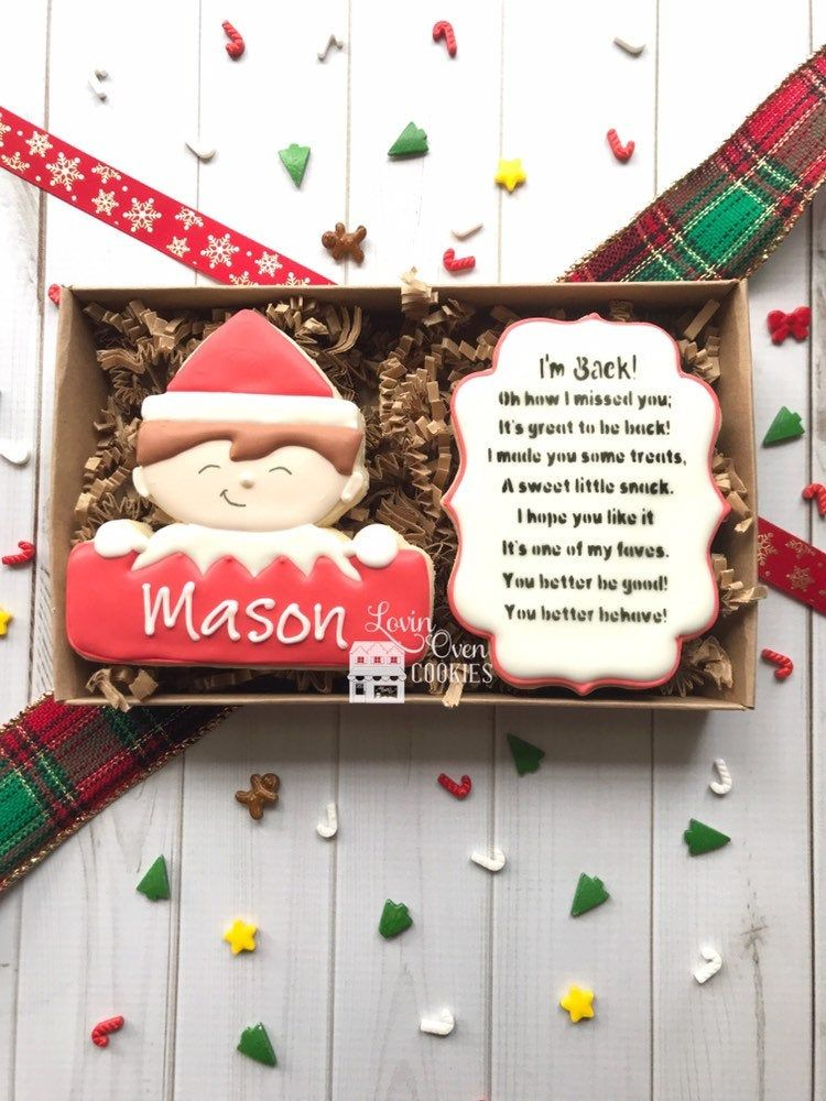 Personalized Elf Decorated Sugar Cookies - Gift Box #halloweensugarcookies