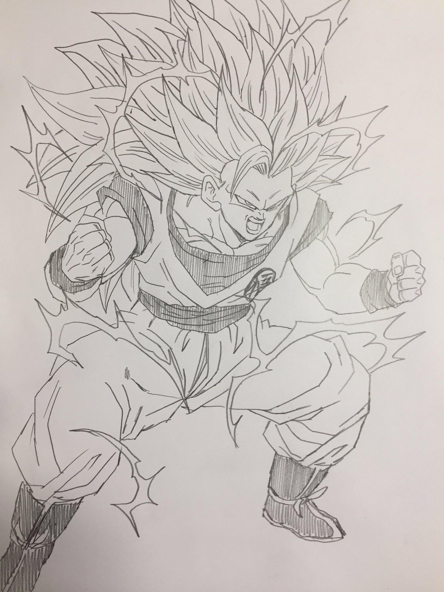 Dessin Son Goku Kakarotto Super Saiyajin 3 Dibujo De Goku Goku Dibujo A Lapiz Goku A Lapiz