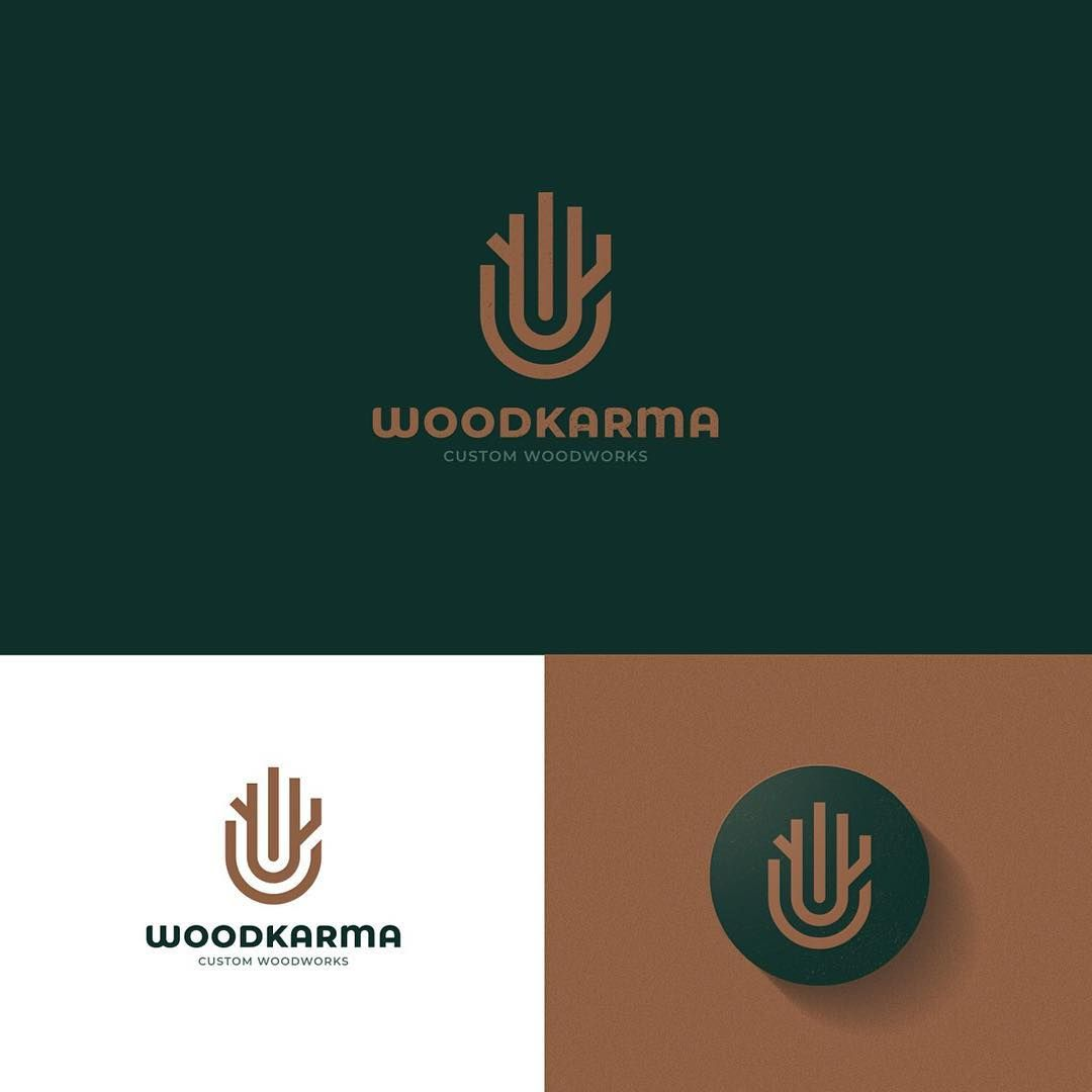Woodkarma Logo Client Project When A Skilled Workman Makes The Midas Touch On Wood With His Hands A Wood Logo Design Tree Logo Design Minimalist Logo