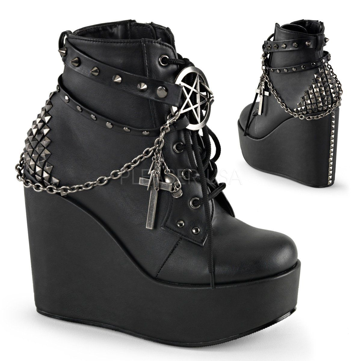 Black Veggie Wedges, Black veggie leather look 5 inch wedge platform lace  up front ankle boos with wrap around studded straps and pentagram detail.
