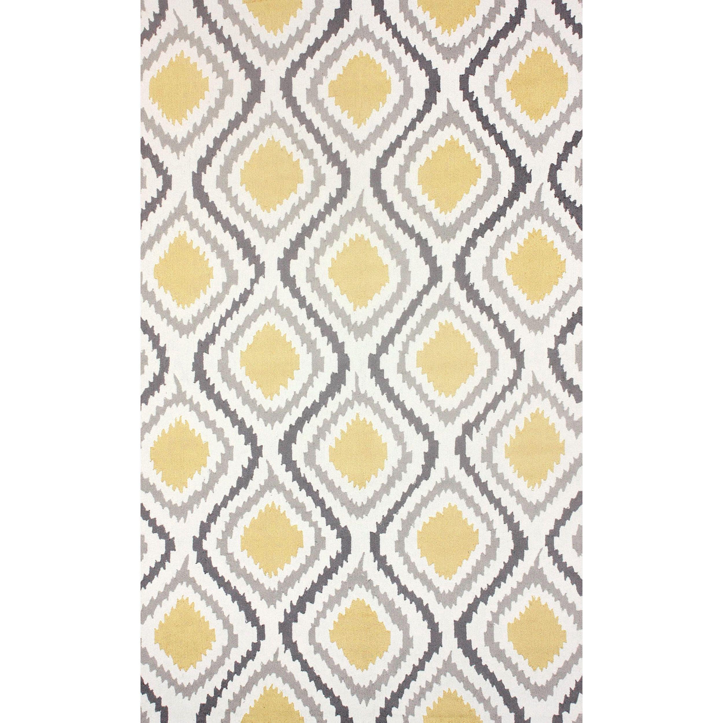 nuLOOM Handmade Modern Ikat Trellis Sunflower Yellow Rug 8 6 x 11