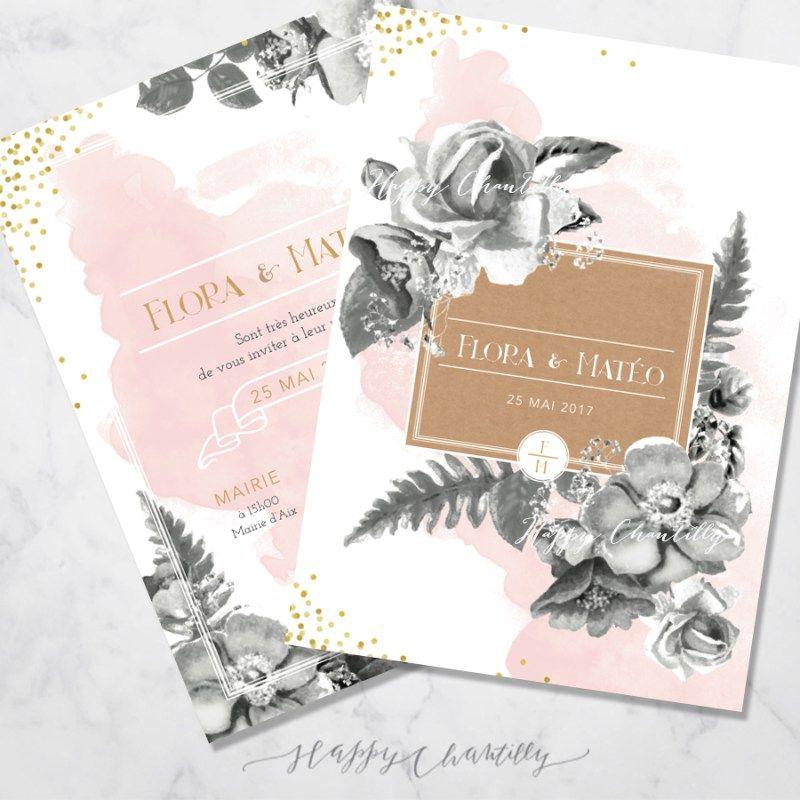 Faire Part Mariage Botanique Fleurs Noir Aquarelle Noir Rose Kraft