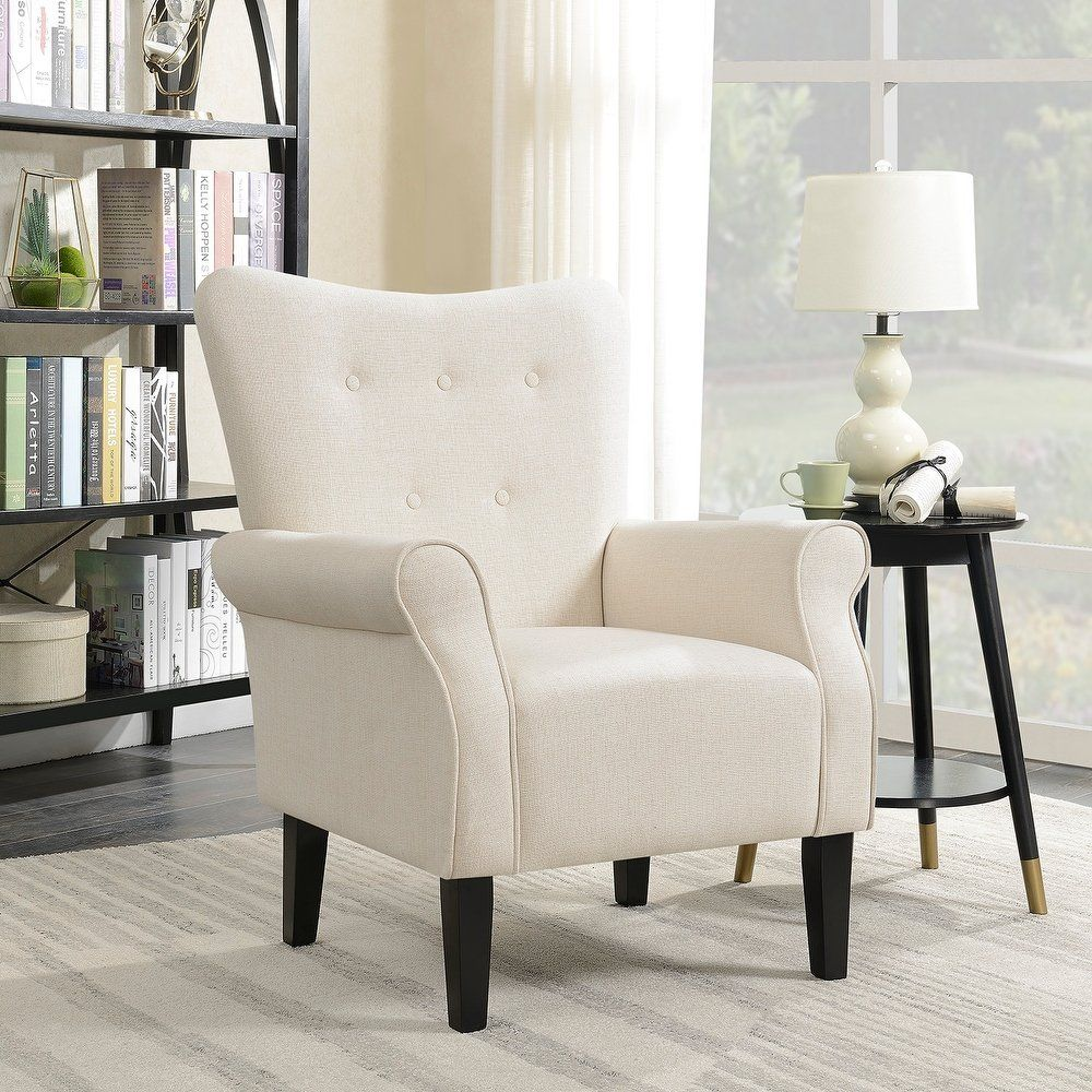 Astounding Shop Belleze Modern Wingback Accent Chair Armrest Linen With Bralicious Painted Fabric Chair Ideas Braliciousco