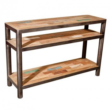 Console 3 plateaux bois recyclé métal - Univers Petits Meubles